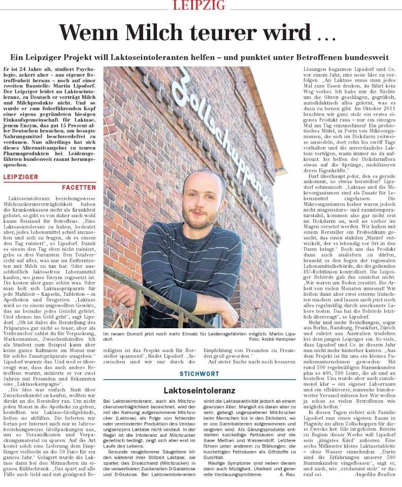Laktasekampagne in der Leipziger Volkszeitung